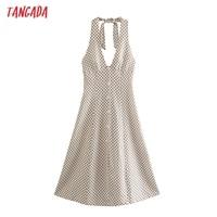 Tangada 2021 Fashion Women Dots Print Halter Dress Sleeveless Backless Buttons Female Casual Dress 5Z241 1