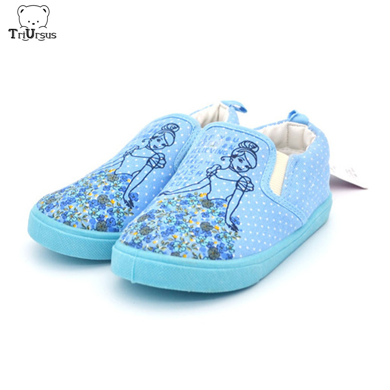 Kid Shoes Children Girls Princess Shoes Cind Blue Color Girls Canvas Casual Shoes Embroider Girls Flat Shoes For Spring Autumn