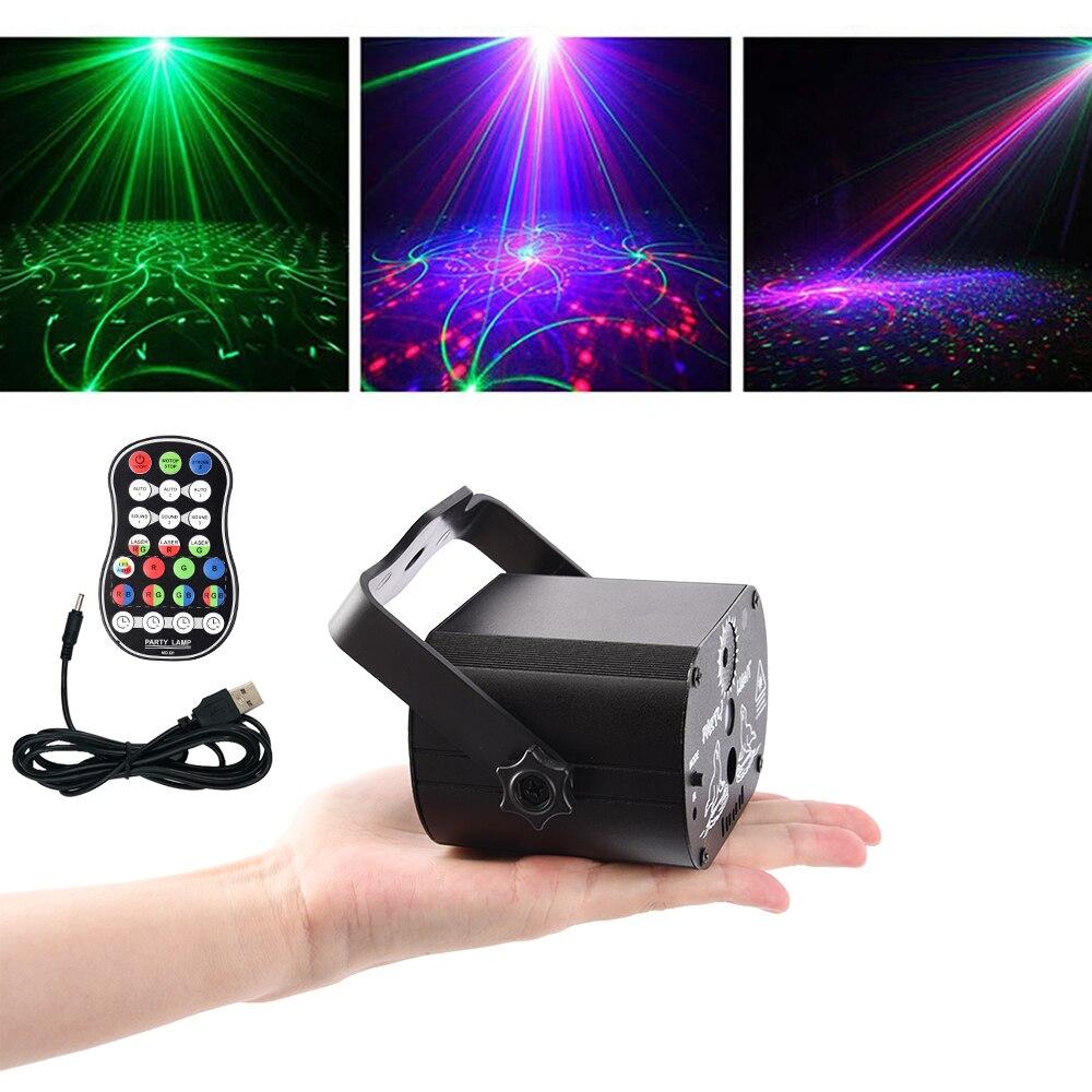 Işıklar ve Aydınlatma'ten Sahne Aydınlatması Efekti'de Disko lazer ışığı 5V USB yeniden şarj edilebilir 60 desenler RGB lazer projeksiyon lamba sahne aydınlatma gösterisi için ev partisi KTV DJ dans pisti title=