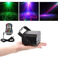 Luz Láser De discoteca Lámpara de proyección láser RGB, iluminación de escenario, para fiesta en casa, KTV, baile DJ, suelo, recarga USB, 60 patrones, 5V
