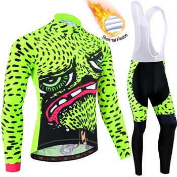 BXIO Fluo Green Thermal Fleece Cycling Clothing Warm Long Sleeve Bicycle Wear Cycling Jersey Set Ropa Ciclismo 210