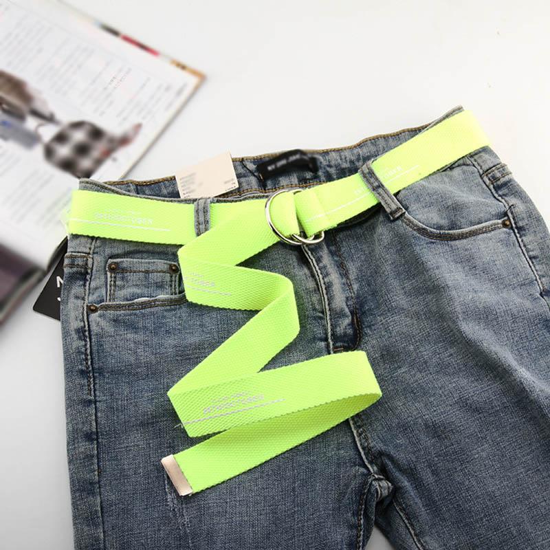 Unisex Canvas Belts Letters Printed D Ring Double Buckle Punk Waist Strap Long Fluorescent Green Jeans Women Men Teenager Belt