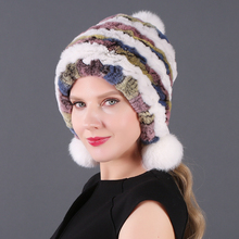 Russia Elastic Knitted Real Rex Rabbit Fur Beanies Hats Women Skullies Hat 100% Natural Caps