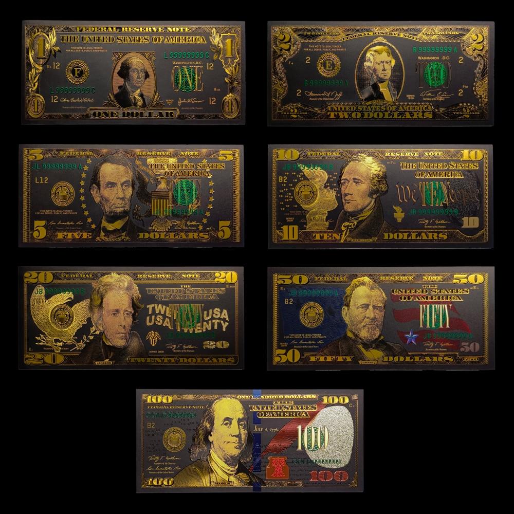 7 teile/los Vereinigten States1 2 5 10 20 50 100 USD Schwarz Gold Banknoten in 24K für Sammlung