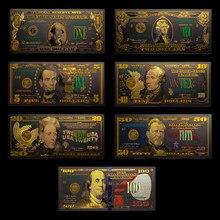 7 unids/lote las States1 2 5 10 20 50 100 USD negro billetes de oro 24K para la colección