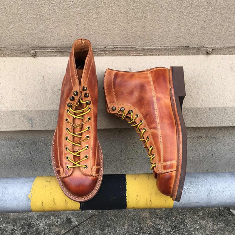 Yomior Sonbahar Kış Yeni Tasarımcı Vintage Inek deri erkek ayakkabısı Goodyear Welted Elbise Erkekler yarım çizmeler Iş Motosiklet Botları
