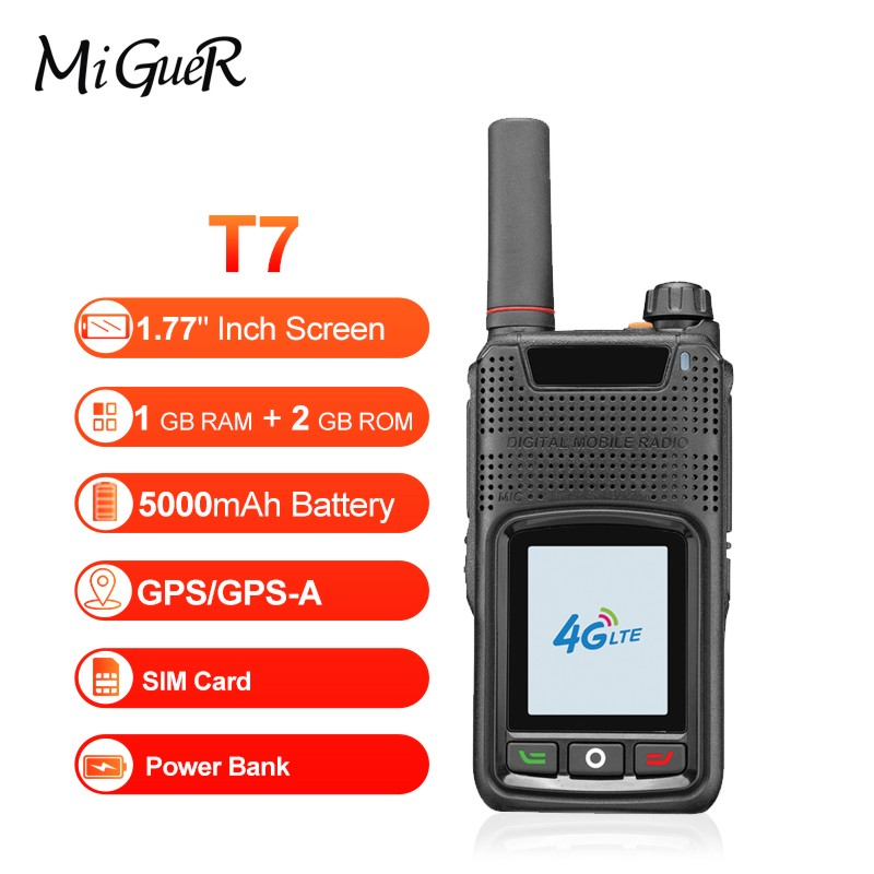 """MiGueR T7 POC Radio With 4G-LTE Walkie Talkie Mobile Phone NFC 1.77""""Inch IPS HD Dual Card Wide Area Network 5000mAH  Stock"""