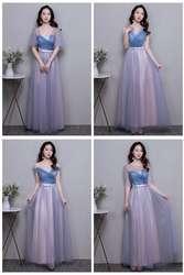 Элегантные платья невесты Гость Свадебная вечеринка Junior с плеча Выпускной синий розовый длинный тюлевый Выпускной платье vestidos