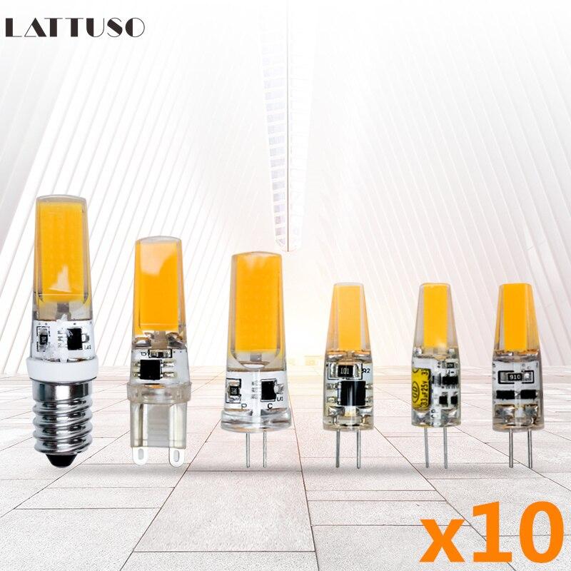 10pcs/lot G4 G9 E14 LED Lamp Mini LED Bulb AC220V DC12V SMD COB Spotlight Chandelier High Quality Lighting Replace Halogen Lamps