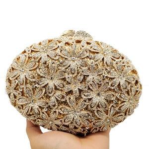 Image 3 - Boutique De FGG Socialite Hollow Out Women Flower Crystal Evening Bags Wedding Party Diamond Minaudiere Handbag Bridal Clutch