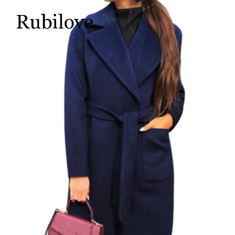 Rubilove Women 39 s Jackets amp Coats Medium long Belt Wool amp Blends Coat Turn down Collar Solid Color Pockets Parka in Wool amp Blends from Women 39 s Clothing