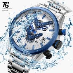 Ouro rosa relógio masculino preto t5 quartzo cronógrafo homem relógio à prova dwaterproof água marca superior de luxo relógios relogio masculino relógio de pulso