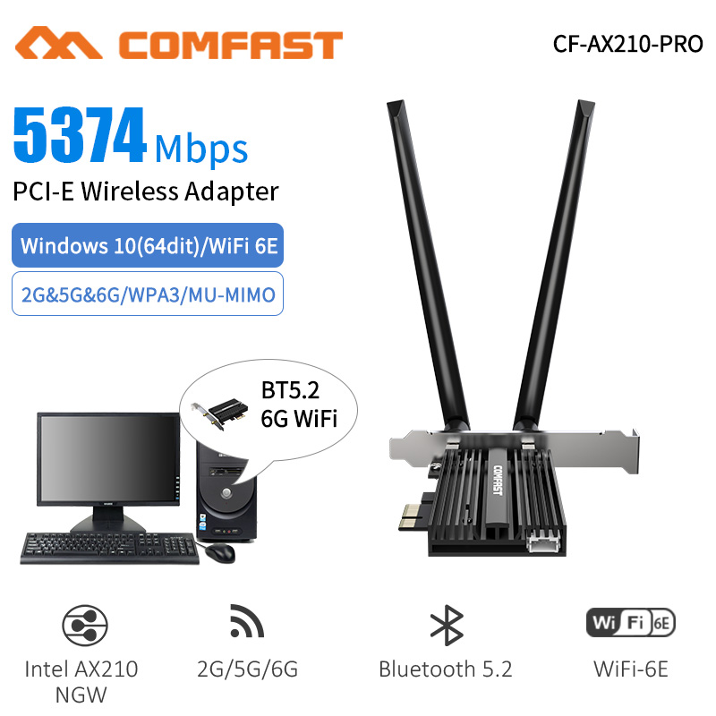 3000Mbps Dual Band Wireless Desktop PCIe For Intel AX200 Pro Card 802.11ax 2.4G/5Ghz Bluetooth 5.1 PCI Express WiFi 6 E Adapter 2
