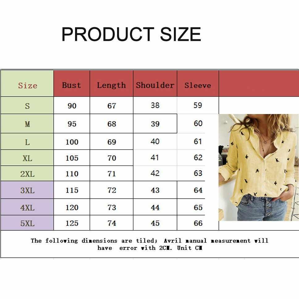 DeRuiLaDy נשים חולצות 2020 ארוך שרוול בעלי החיים הדפסת חולצה מקרית Loose משרד חולצה בתוספת גודל בציר אופנה נשים חולצות