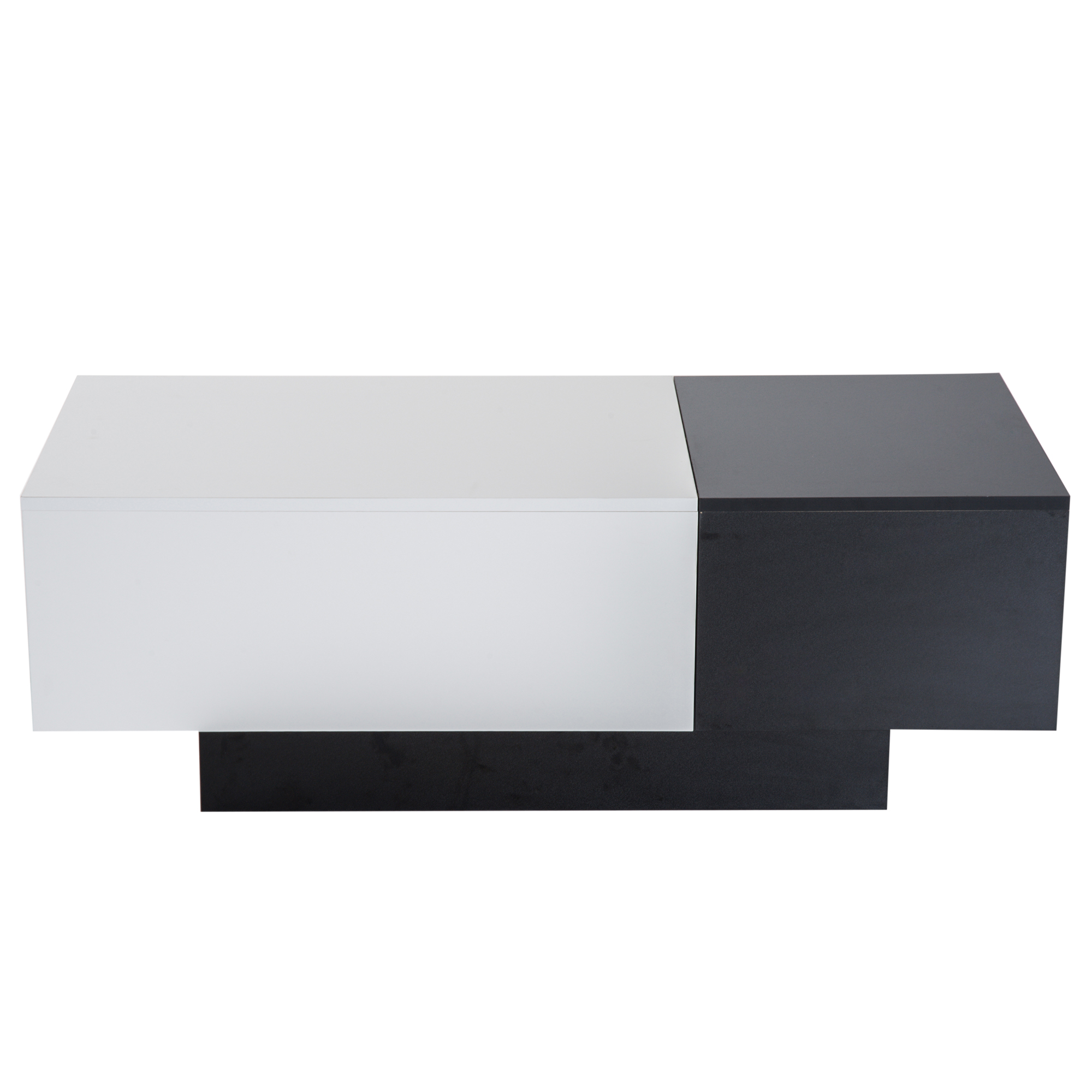 HOMCOM Coffee Table For Living Room Living Room Modern Extensible Space Storage 51 × 140 × 116-160cm White Black