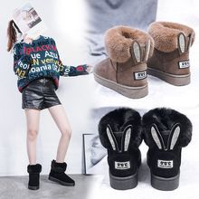 Luxury 2019 New Women Boots Warm Fur Ankle Boots for Women Snow Boots Flats Flock Slip-On Fashion Casual Shoes Woman Non-slip e toy word winter women snow boots warm antieskid mid calf boots square heel slip on casual women flock rabbit hair shoes