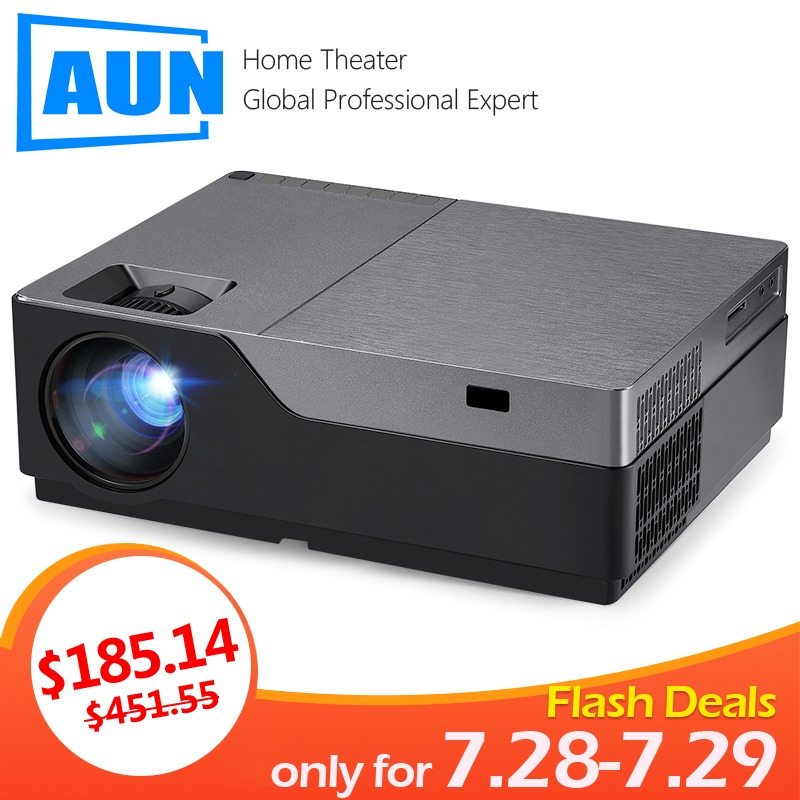 AUN Full HD Projector M18UP, 1920x1080P Resolution. Android WIFI LED Projector for 4K Video beamer. (Optional M18 Support AC3) Головная гарнитура