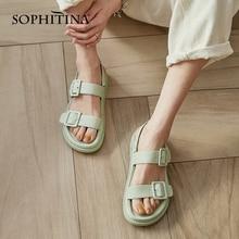 SOPHITINA kobiety buty słodkie letnie żółte platformy sandały na płaskim obcasie z wystającym palcem klamra pasek z tyłu Macaron casualowe sandały Lady DO458