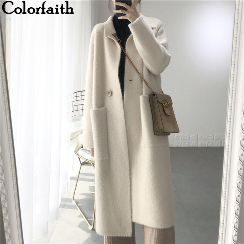 Colorfaith Women Jackets Outerwear Long-Coat Office Wool Korean-Style Warm Elegant Autumn title=