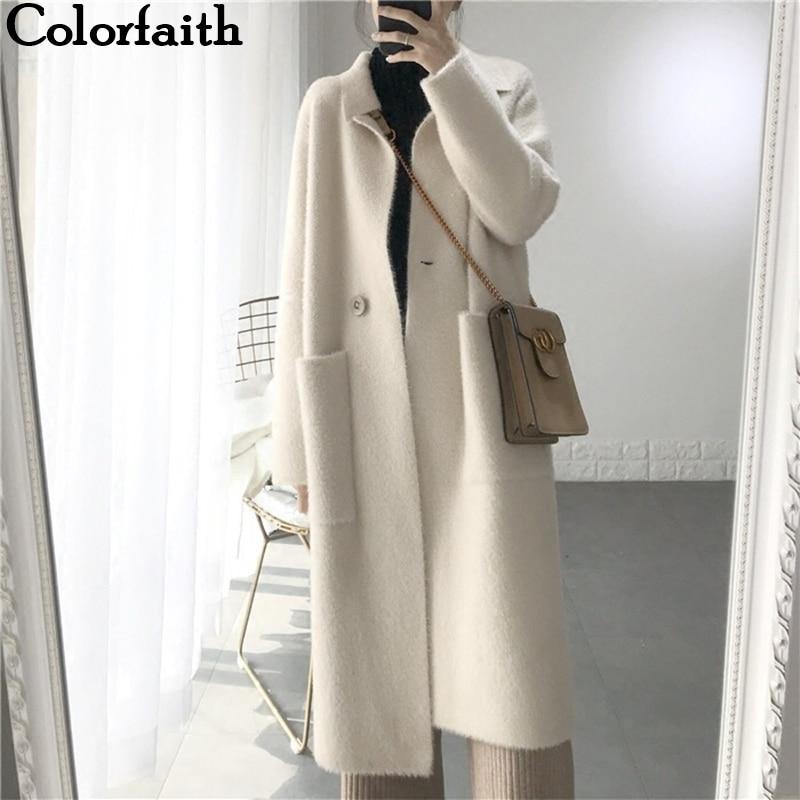 Colorfaith New 2019 Autumn Winter Women Jackets Warm Korean Style Office Lady Elegant  Long Coat Outerwear Wool Blends JK3123