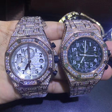 Mens rose gold iced out full diamonds watch super quality iced out quartz watches chronograph function works with box black out watch box