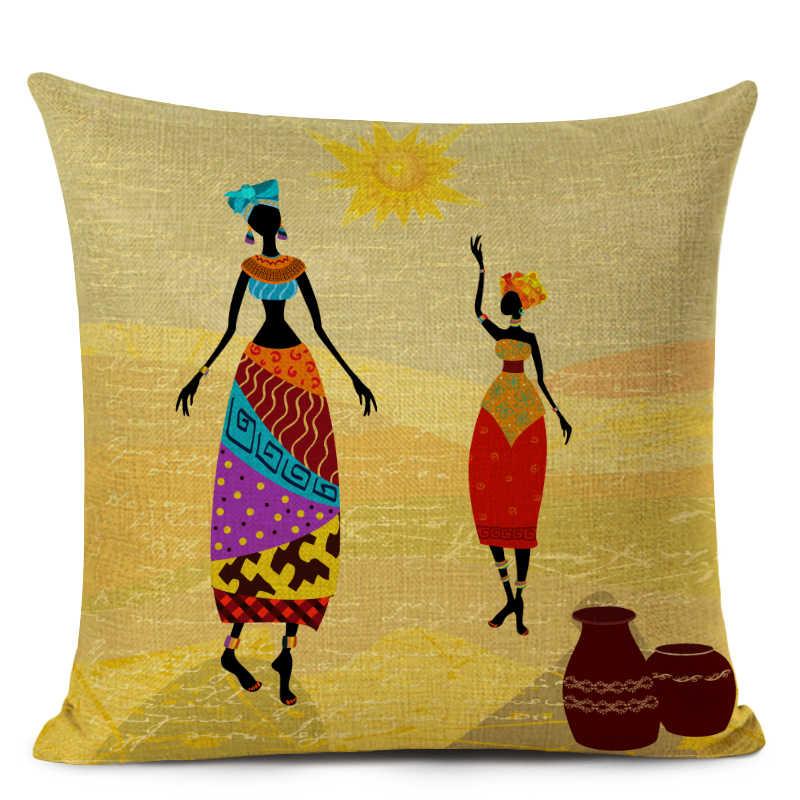 امرأة الأفريقية غطاء الوسادة سفاري أفريقيا الزخرفية المخدة الوطنية الجمارك نمط أريكة ديكور المنزل وسادة من الكتان غطاء