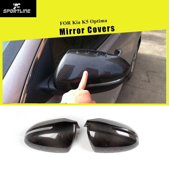 Couvercles de miroirs de rétroviseur latéral | En Fiber de carbone, pour lexamen de la voiture, pour Kia K5 Optima 2011 - 2015 ajouter au Style