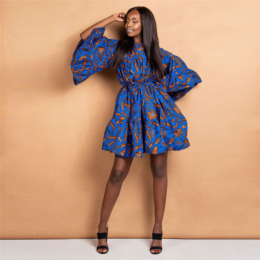 African Clothes 2019 News Autumn Traditional Dashiki Print Bazin Lace Wax Ruffle Sleeve African Dresses For Women Fashion Party
