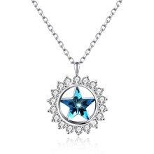 купить New S925 Sterling Silver Round Sun Star Pendant Long Necklace Romantic Blue Crystal Embellished  joyas de plata 925 по цене 3017.53 рублей