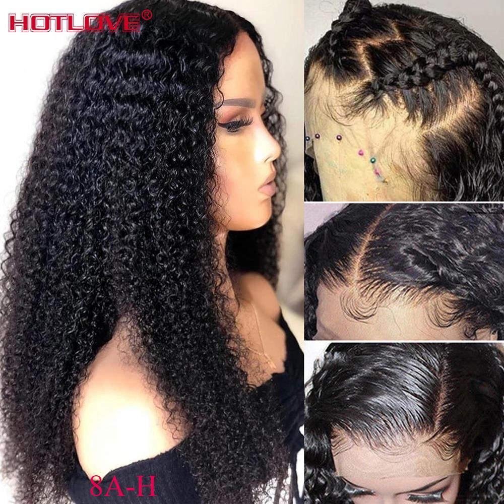 Peruano kinky encaracolado frente do laço perucas de cabelo humano 13x4 perucas de cabelo frontal do laço com o cabelo do bebê pré arrancadas perucas do laço do cabelo de remy