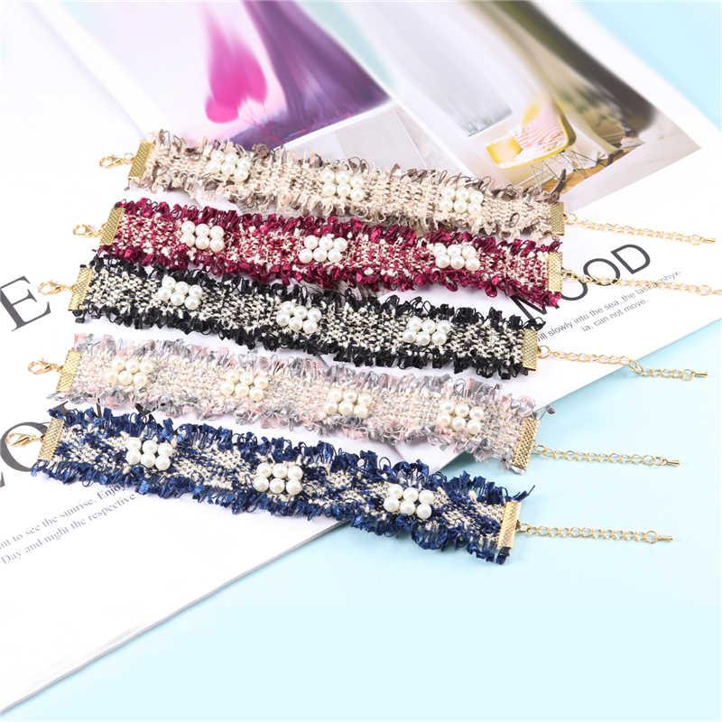 Новая мода жемчуг тканевая цепочка чокер браслет ручной работы с оберегами и браслеты для женщин Бохо полиэстер имитация жемчуга браслет ювелирные изделия