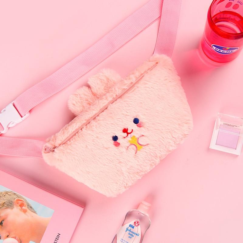 New Winter Bear Ear Women Waist Packs Cartoon Embroidery Girls Shoulder Chest Bags Plush Fur Waist Belt Bag