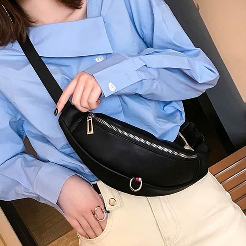 PU Leather Women Waist Bag Fanny Pack Black White High Quality Waist Belt Bags Shoulder Messenger Chest Bag Banana Hip Purse
