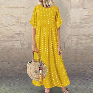 Women Long Maxi Dresses Polka Dot Large Loose Fake Two-piece Cotton Linen Dress Summer New Plus Size Sundress Female Cloth