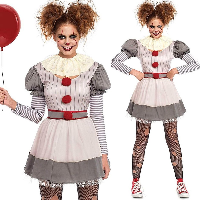 Women's Fashion Long Sleeve Creepy Clown Costume Casual Funny Halloween Dress