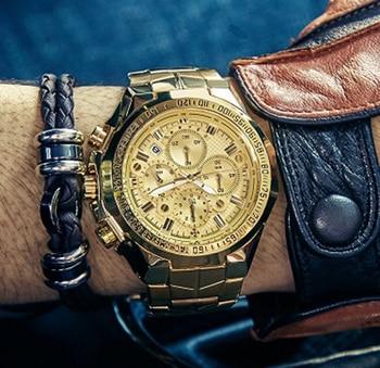 Luxury Gold Full Steel Watches Men Sport Waterproof Quartz Wristwatch Man WWOOR Top Brand Fashion Military Chronograph Watch