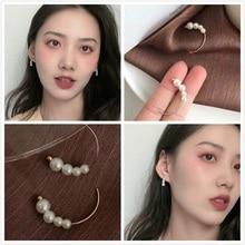 New Fashion Women Sweet Korean Simulated Pearl Beads Half Circle Hoop Earrings Simple Round Pendientes Girl Jewelry  Gift