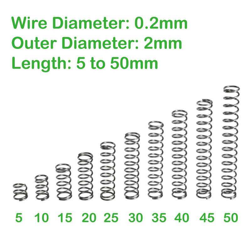 เส้นผ่าศูนย์กลาง 0.2 มม.เส้นผ่าศูนย์กลางด้านนอก 2 มม.ยาว 5 มม.ถึง 50 มม.การบีบอัดกลับฤดูใบไม้ผลิฤดูใบไม้ผลิขนาดเล็ก