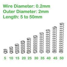 Diâmetro do fio 0.2mm diâmetro exterior 2mm comprimento 5mm a 50mm mola de compressão retorno pequena