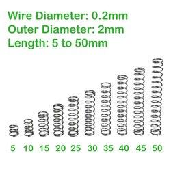 Диаметр провода 0,2 мм наружный диаметр 2 мм, длина от 5 мм до 50 мм сжатия с пружинным возвратом маленькая пружина