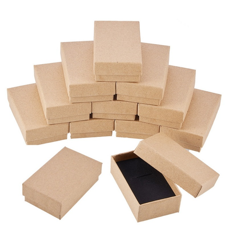 Cardboard Jewelry Set Box For Ring Necklace Rectangle Tan 24pcs 8x5x3cm Black 9x7x3mm
