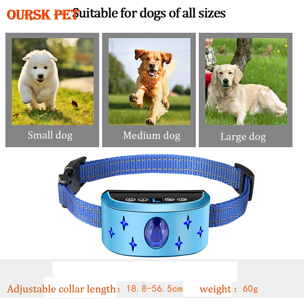 Rechargeable Waterproof Dog Training Collar Automatic Shock Vibration Sound Pet Dog Anti-Bark Trainer Pet Bark Stop Supplies