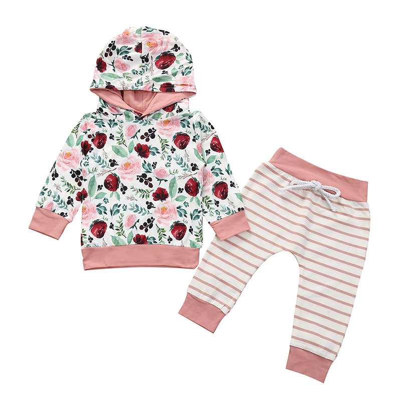 US Flower Baby Girl Newborn Outfits Clothes Hooded Sweatshirt Pants Trousers Set