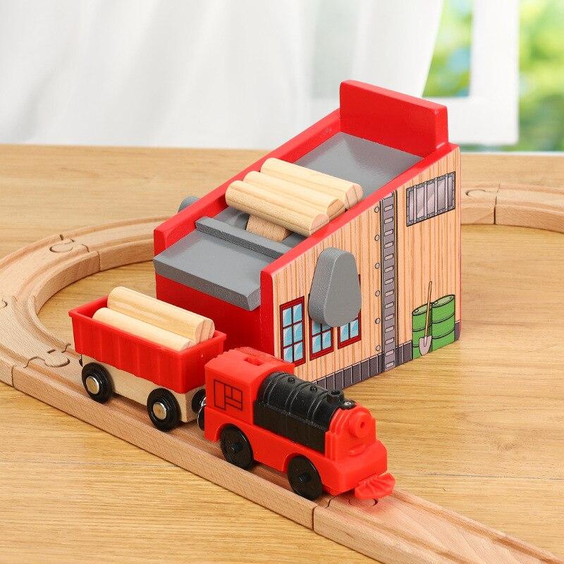 Wooden Railway Train Track Toys Suit Lumberyard Scene Accessories Parent-child Interactive Parking Garage Toys For Kids Boy Gift