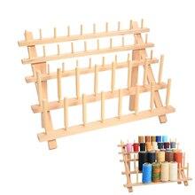 Thread-Stand-Holder Organizer Storage Sewing Rack Cones-Stand Embroidery Wooden Shelf