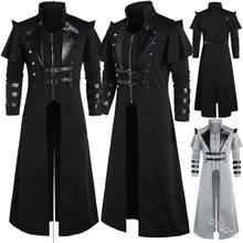 Medieval steampunk assassino elfos pirata traje para adulto preto vintage longo split jaqueta gótico armadura casacos de couro 5xl