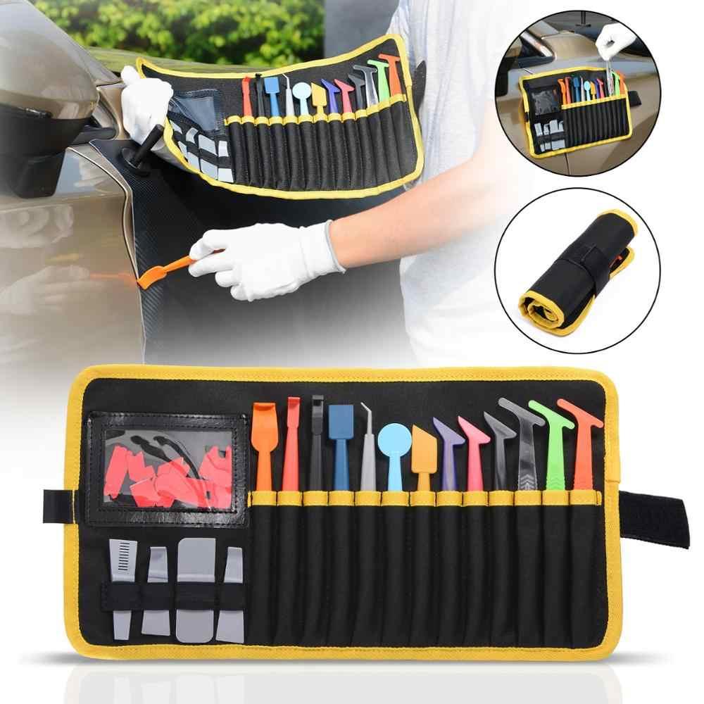 EHDIS 32 adet vinil araba streç film etiket kazıyıcı mıknatıs silecek araçları kiti ile keçe stok çanta pencere tonu aracı otomatik aksesuarları