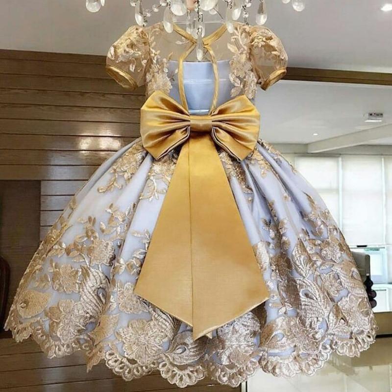 Flower Child Princess Party Birthday Dance Dress Baby Girls Dress New Year Party Evening Gowns Elegant Princess Dress 4-10 Yrs