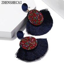 Bohemian tassel earrings statement fancy long african earring colorful handmade women geometric fringes fashion big rhinestone