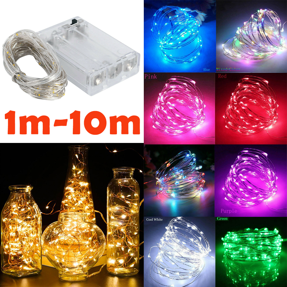 1m - 10m LED String Light 9 Colors Fairy Lights 10-100LEDs Copper Wire Battery Powered For Wedding Xmas Party Decor Holiday Lamp